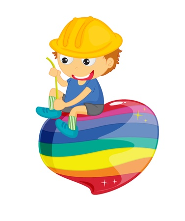 splodge: Boy sitting on colourful splodge with string