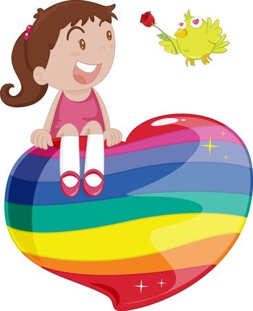 illustration of girl sitting on heart illustration