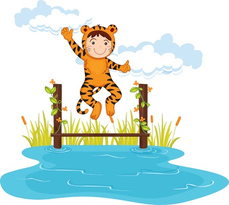dressup: illustration of kid in tiger dressup Stock Photo