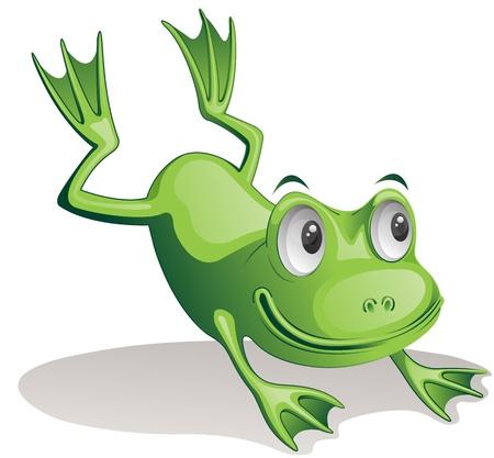 rana caricatura: Ilustración de la rana de salto Foto de archivo