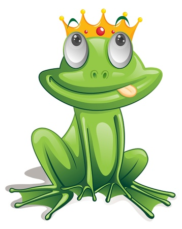 cartoon frog: Illustration of green frog on white