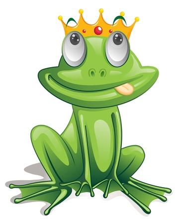 rana caricatura: Ilustración de la rana verde sobre fondo blanco Foto de archivo