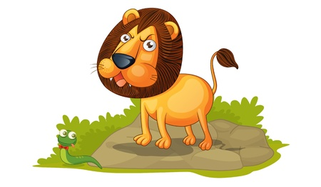 panthera: illustration of lion on white Stock Photo