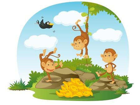 mono caricatura: ilustración de los tres monos y los plátanos