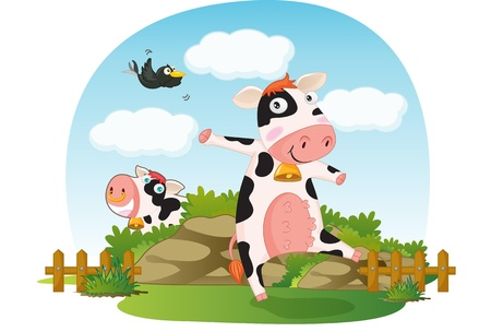 cow bells: illustration of resting cows Stock Photo