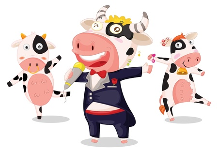 illustration of singing cows on white illustration