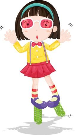 springs: illustration of girl standing on springs Stock Photo