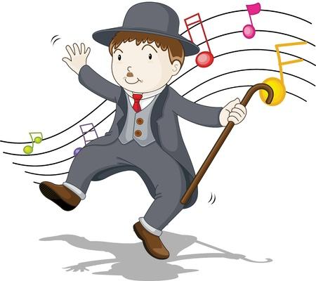 illustration of singing and dancing charlie
