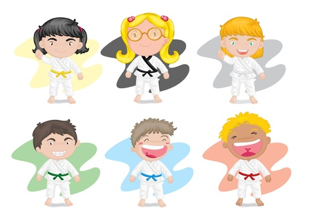 illustration of six kids playing kung fu karate illustration