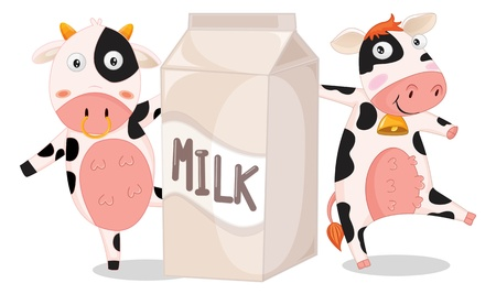 cow bells: illustration of cows with milk bag