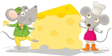 illustration of mouse eating on cheese illustration