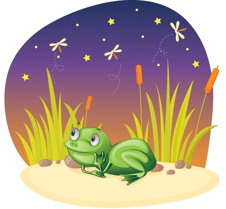 illustration of frog sitting and thinking illustration