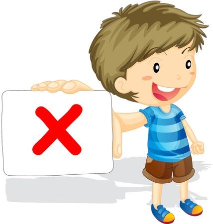 incorrect: illustration of boy showing cross