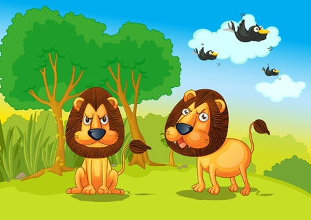 Illustration of lions in the jungle illustration