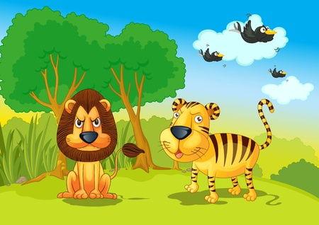 illustration of lion and tigers in jungle illustration