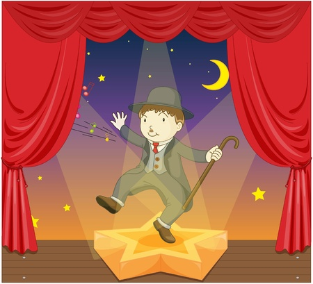 illustration of charlie chaplin on stage Stock Photo