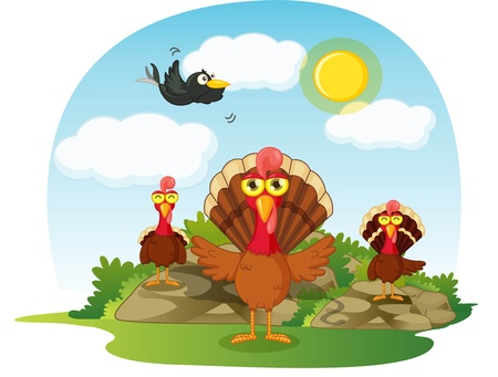 illustration of turkey bird on sky blue background illustration