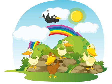 illustration of ducks on ranbow background illustration
