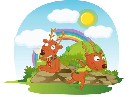 illustration of deers sitting on rainbow background illustration