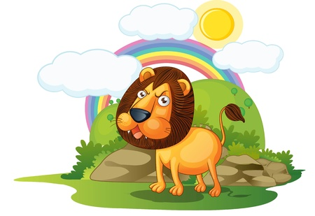 panthera: illustration of lion on rainbow background