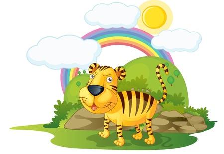 illustration of tiger on rainbow background illustration