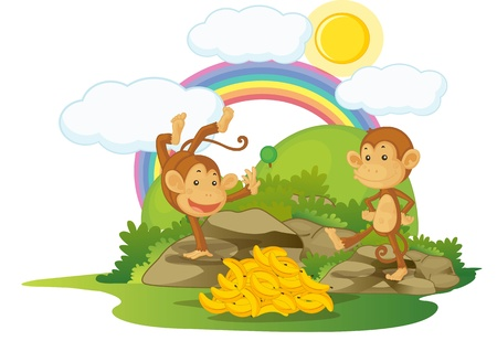 illustration of monkey on rainbow background Stock Illustration - 13215627