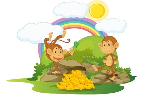 illustration of monkey on rainbow background Stock Illustration - 13215627