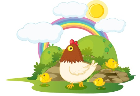 bush babies: illustation of hen with three chicken on rainbow background Stock Photo