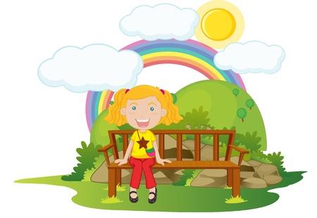 illustration of girl sitting on a bench illustration
