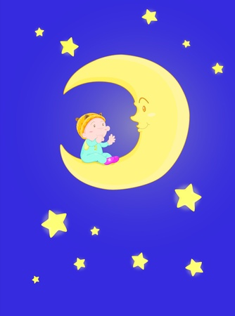 illustration of baby sitting on moon Vector