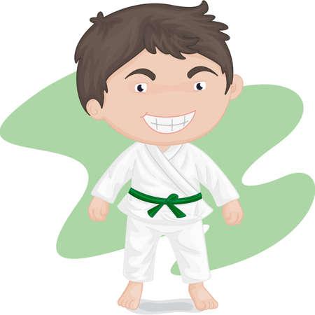 illustration of boy playing koong-foo-karate Vector