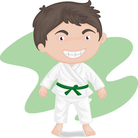 sport cartoon: illustration of boy playing koong-foo-karate