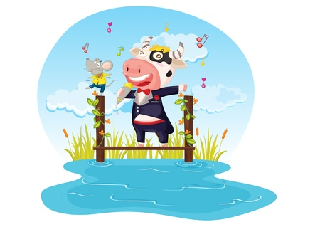 illustration of singing cow and mouse on white Stock Vector - 13215674