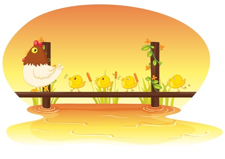 illustration of hen with four chicken Stock Vector - 13215757