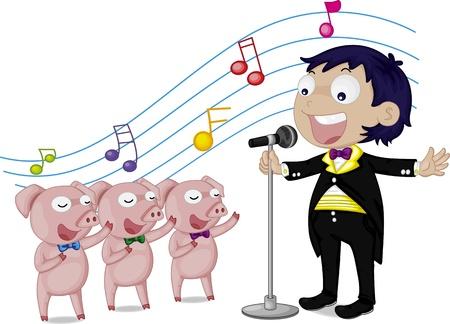 male pig: illustration of singing boy and pigs Illustration