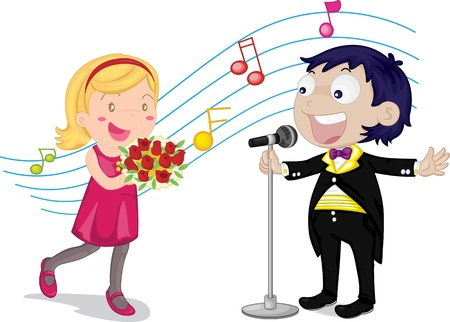 illustration of singing boy and girl