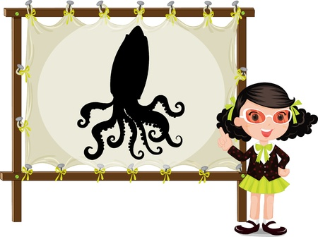 illustration of girl showing picture of octopus on board Vector