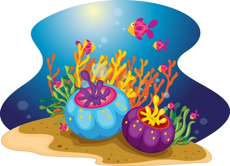 School of ornate fish swim onwards Stock Vector - 13216040