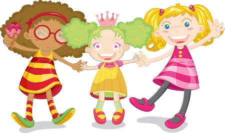 plait: Three girls of different ages and ethnicity playing together Illustration