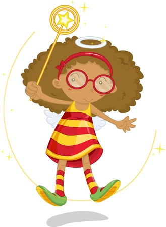 Girl with afro floating above the ground thanks to magical powers Illustration