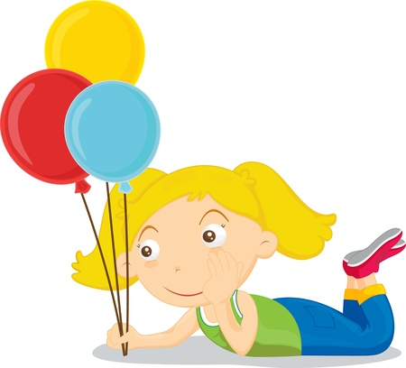 Girl with balloons daydreaming Vector
