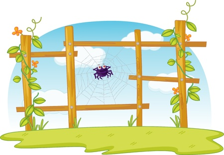 spiders web: Spiders web in fence with sky