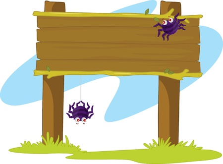 wood spider: Spiders on a wooden banner in grass