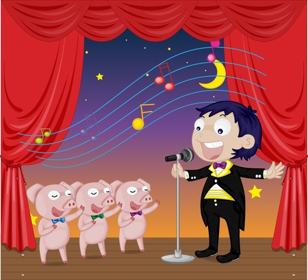 night suit: Three little pigs singing with man