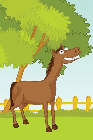 illustration of horse in garden illustration
