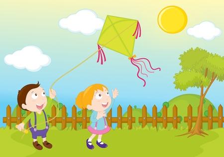 ni�os jugando en el parque: jard�n parque escena de la ilustraci�n