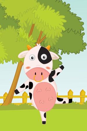 jumping fence: ilustración de la vaca bailando en el jardín Foto de archivo