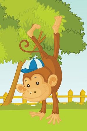 jumping monkeys: illustration of monkey in garden Stock Photo