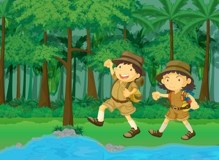 foresta pluviale e l'acqua cartone animato scena