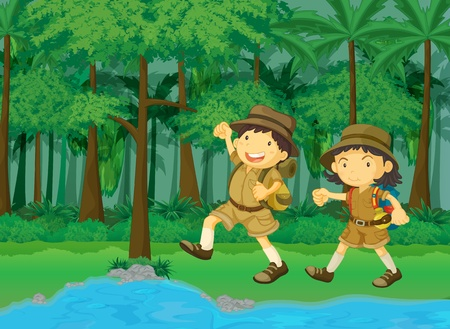 explorer: rainforest and water cartoon scene